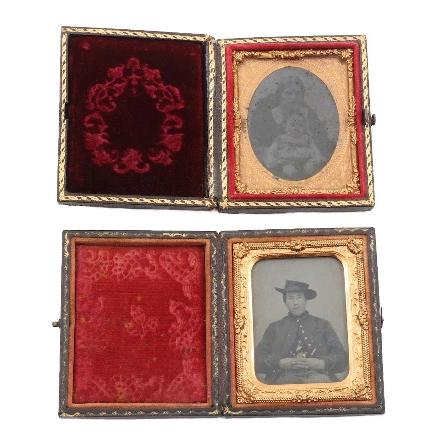 antique daguerreotypes in hinged frames ebth