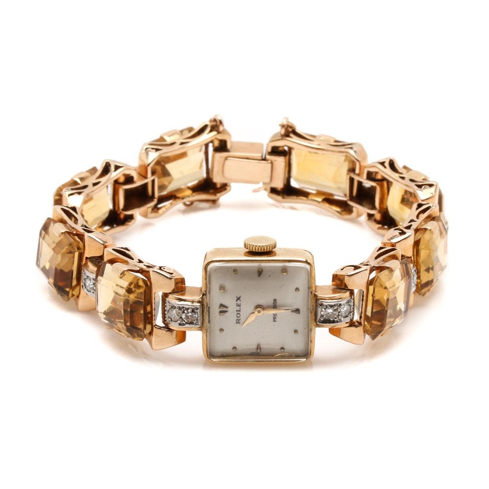 Rolex Precision 18K Yellow Gold 1.00 CTW Diamond and Citrine Wristwatch