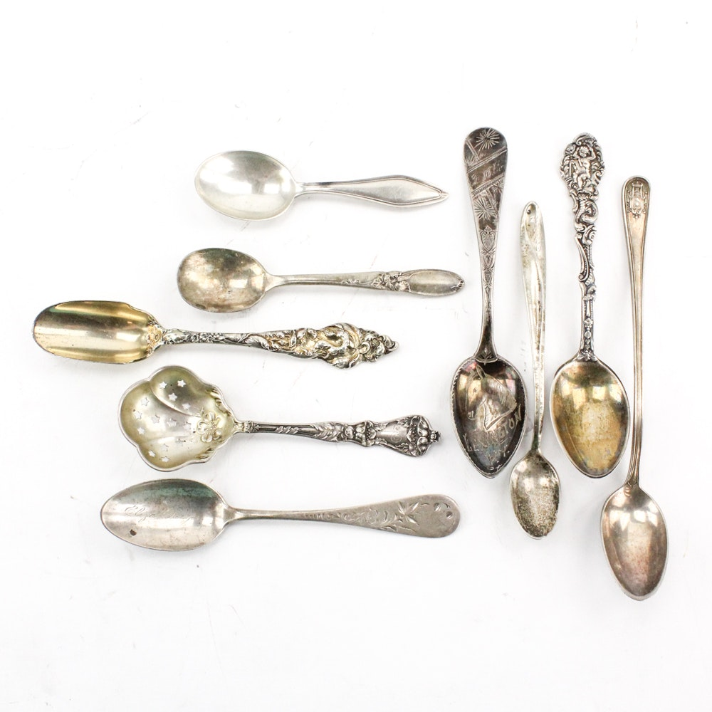 "Towle ""Mary Chilton"" and Other Sterling and Silver-Plated Spoons"