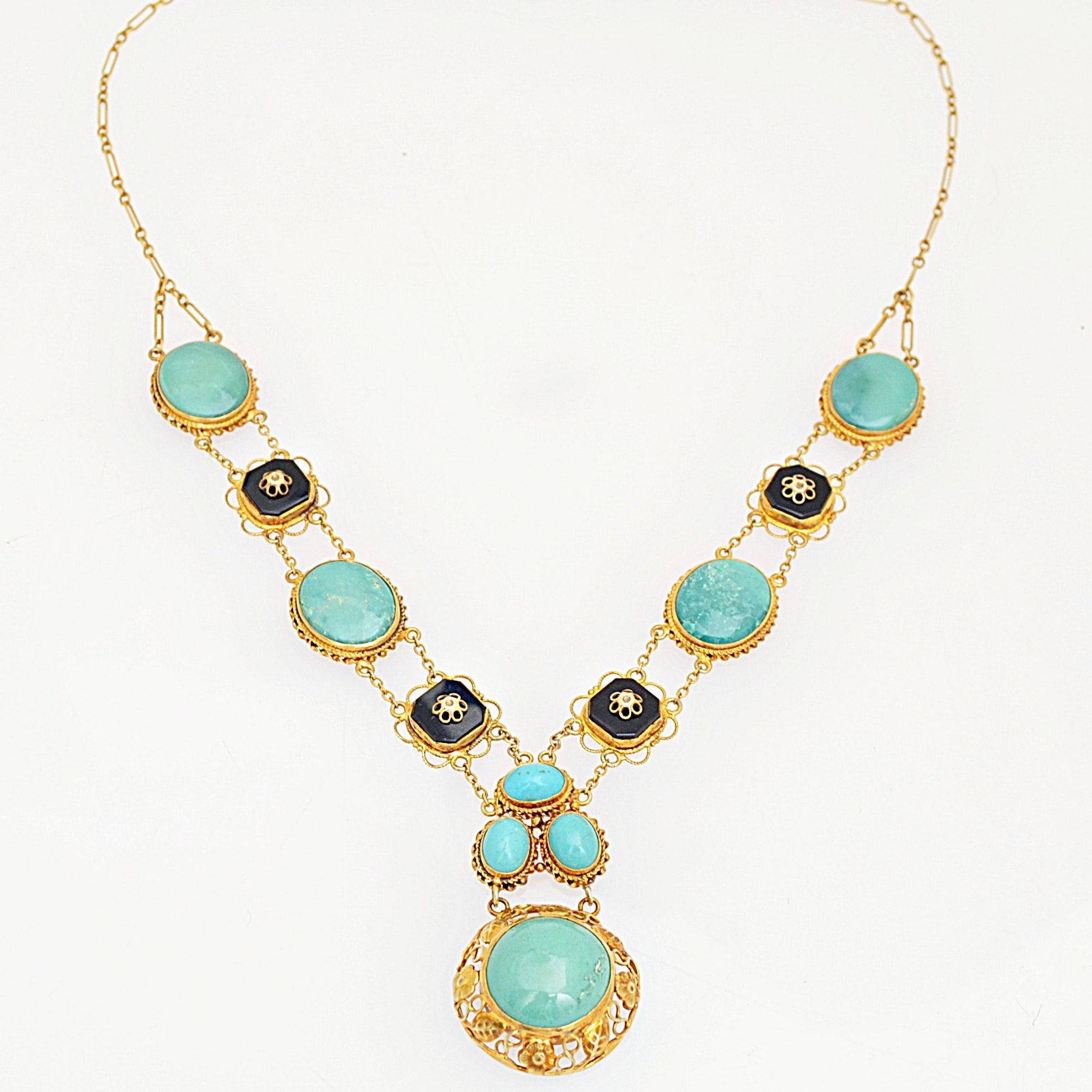 Vintage 14K Yellow Gold, Turquoise and Black Onyx Necklace