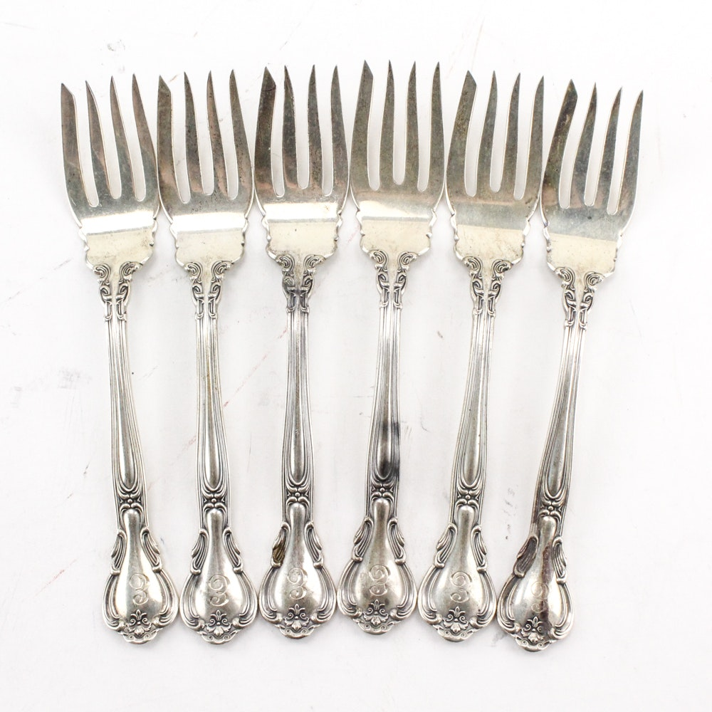 """Gorham """"Chantilly"""" Sterling Silver Pastry Forks"""