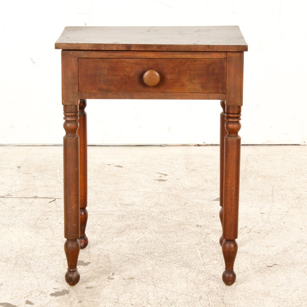 Antique Mahogany Single Drawer Table