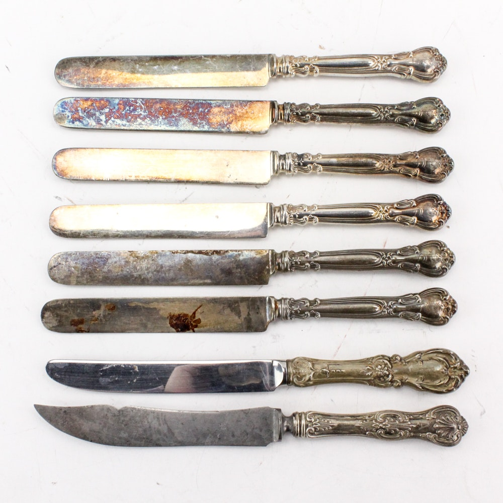 "Gorham ""Chantilly"" Sterling Handled Knives with Other Sterling Handled Knives"