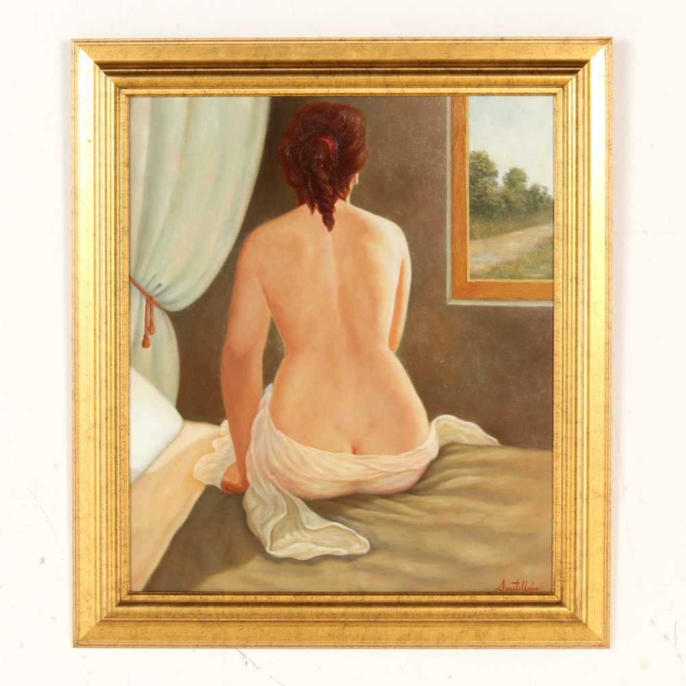 Oil on Canvas Painting of Semi-Nude Woman
