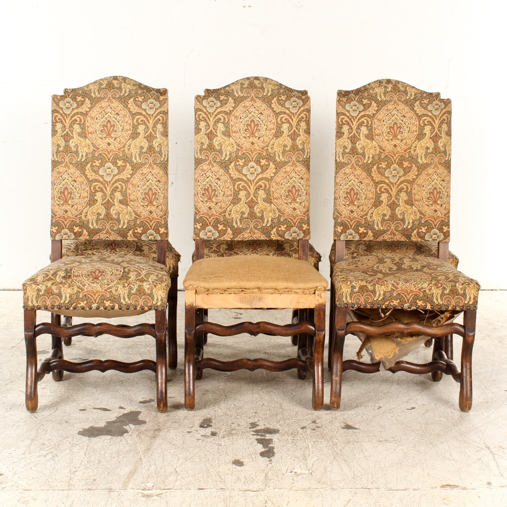 Vintage Upholstered Louis XIII Style Dining Chairs