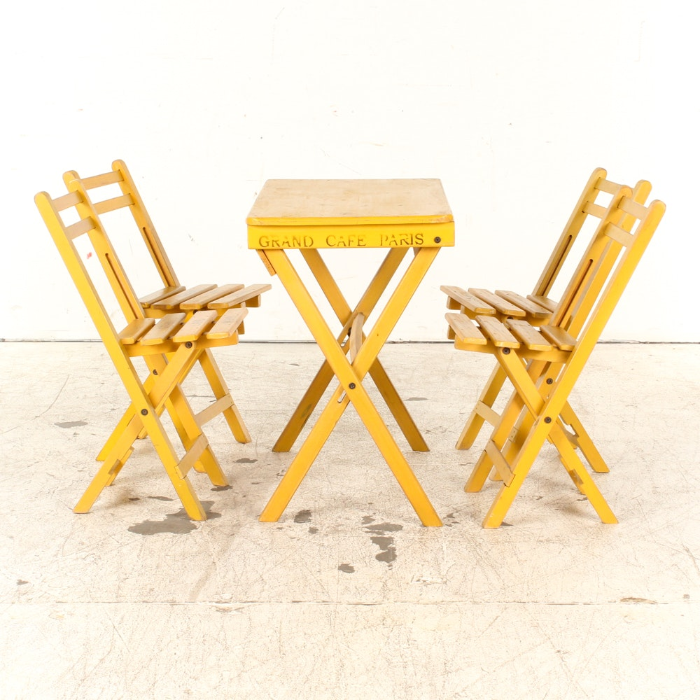 Folding Yellow Bistro Table and Four Chairs