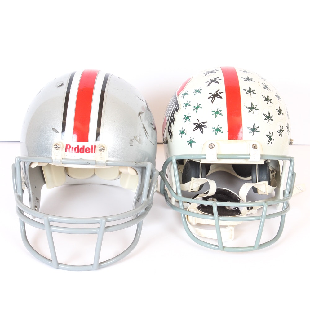 Two Ohio State Buckeyes Football Helmets