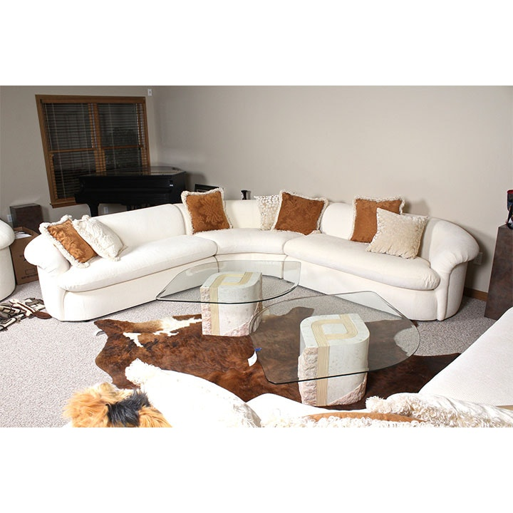 Contemporary White Linen Sectional Sofa By Preview Furniture ...