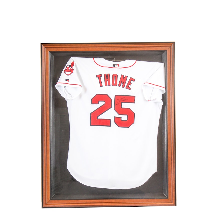best website 009f7 697d0 Jim Thome Autographed Cleveland Indians Jersey in Display Case