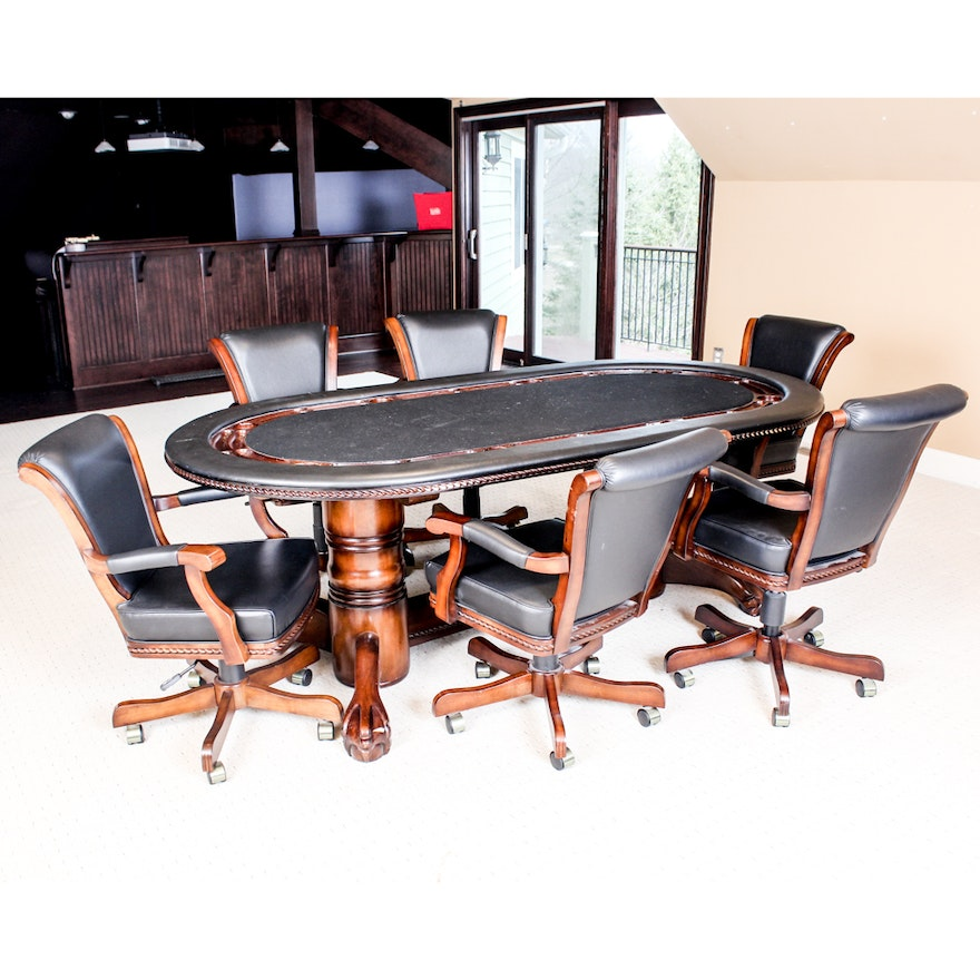 Poker Table And Chairs By American Heritage Billiards Ebth