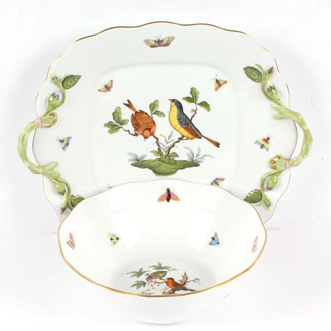 "Herend ""Rothschild Bird"" Bowl and Sandwich Plate"