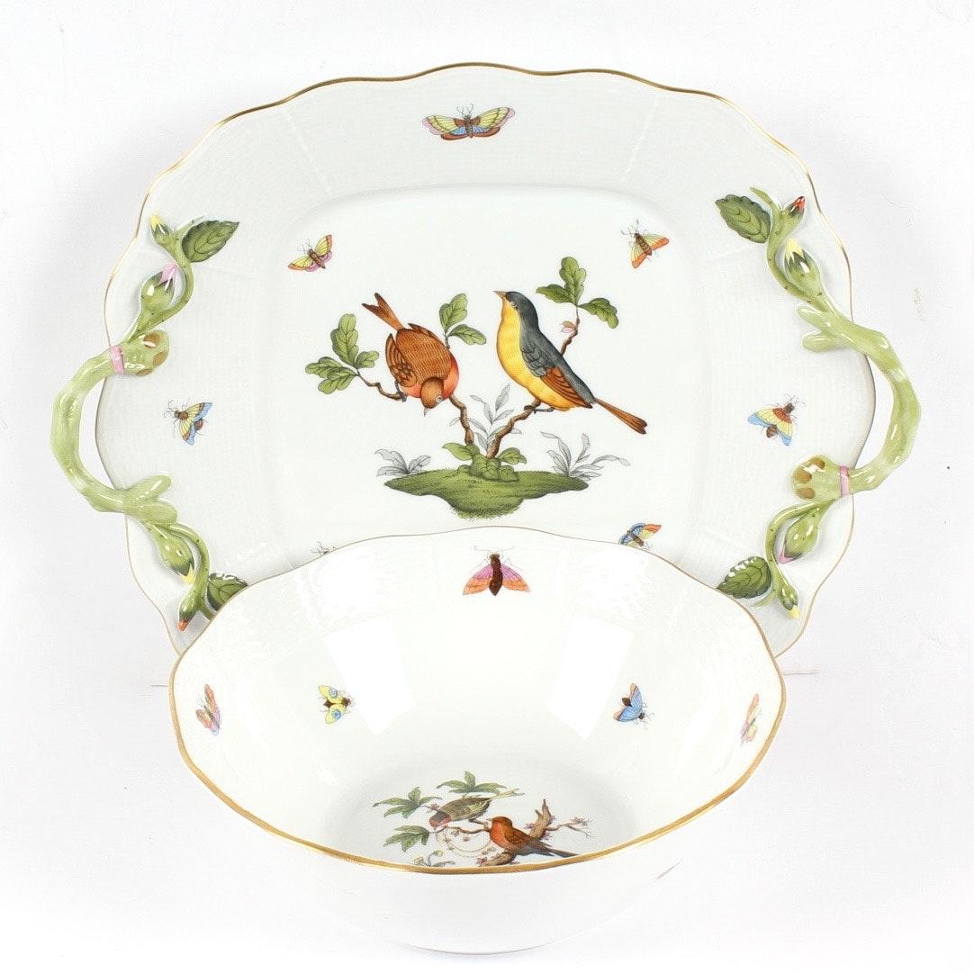 "Herend ""Rothschild Bird"" Bowl and Sandwich Plate"