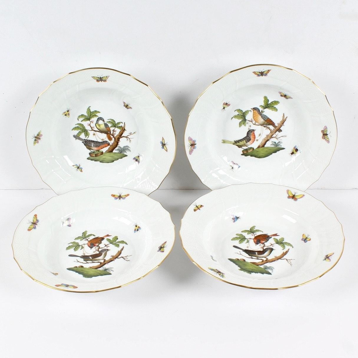 """Herend """"Rothschild Bird"""" Rim Soup Bowls"""