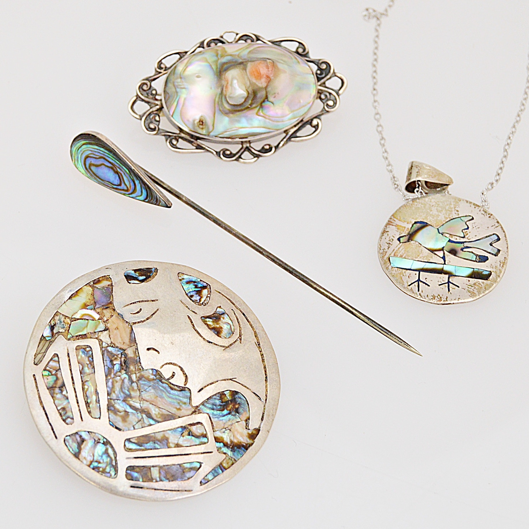 Vintage Sterling Silver and Abalone Jewelry with Mexico Taxco