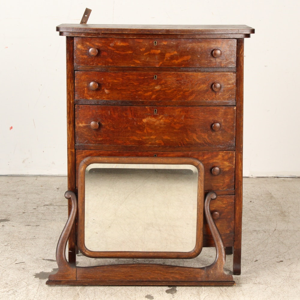 Antique Quarter Sawn Oak Chest of Drawers with Mirror