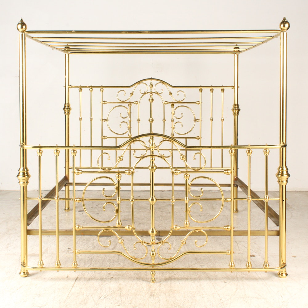 King Brass Canopy Bed Frame