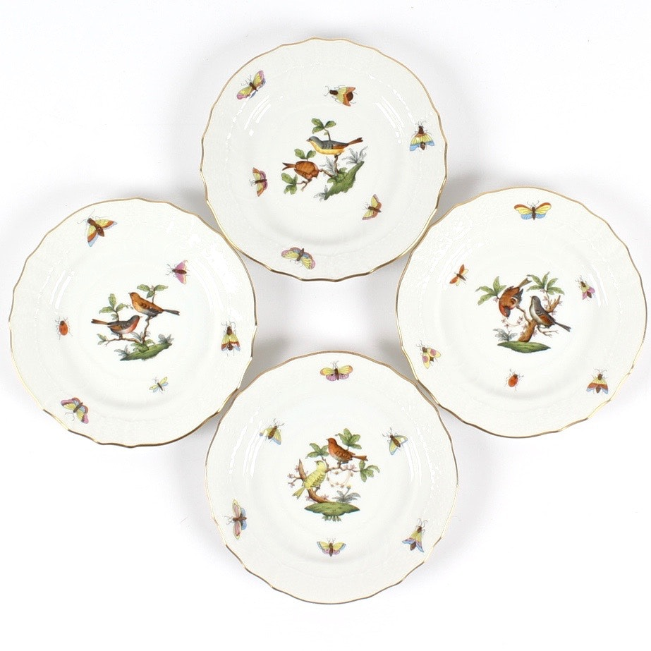 "Herend ""Rothschild Bird"" Bread & Butter Plates"