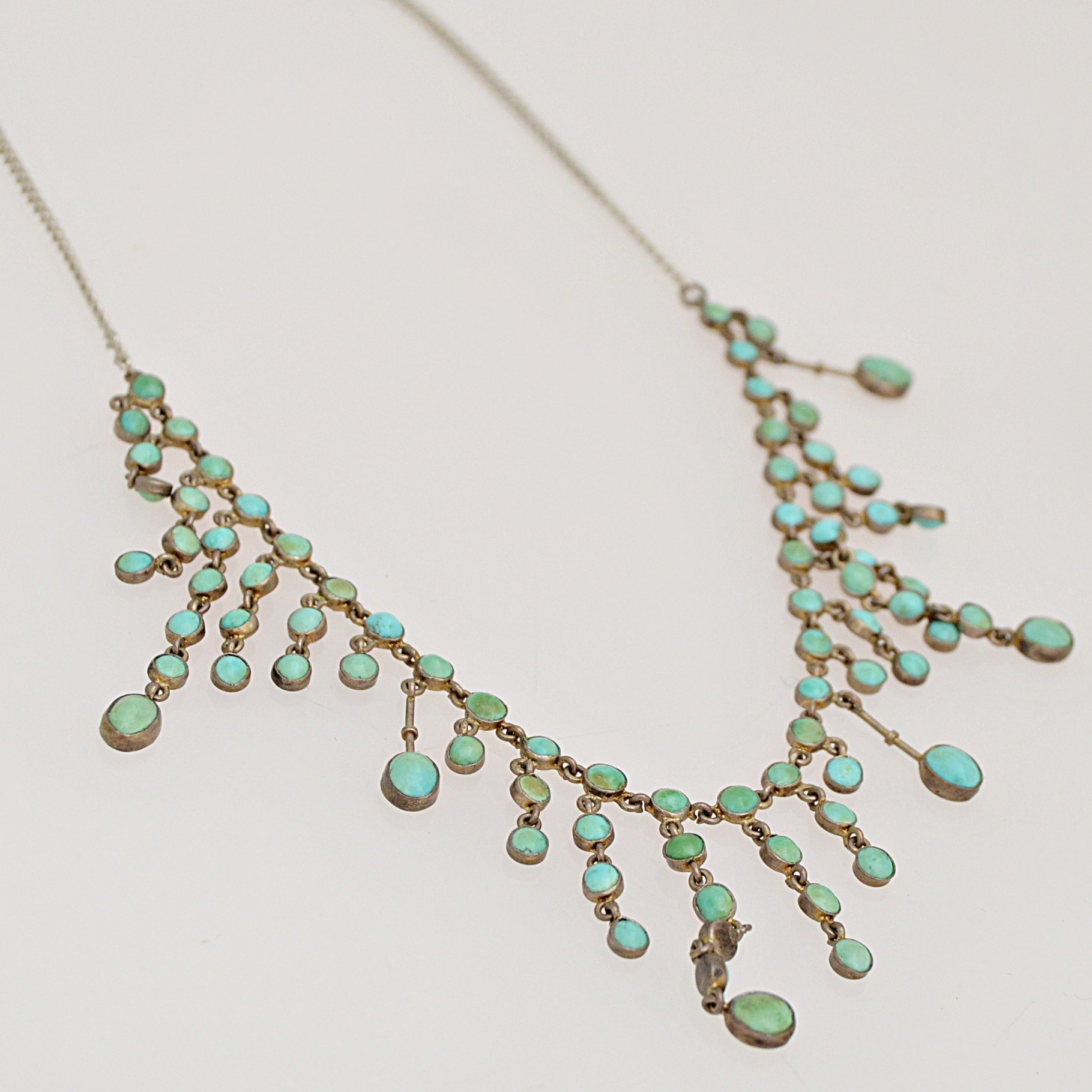 Vintage 800 Silver and Turquoise Necklace, 925 Silver and Turquoise Ring