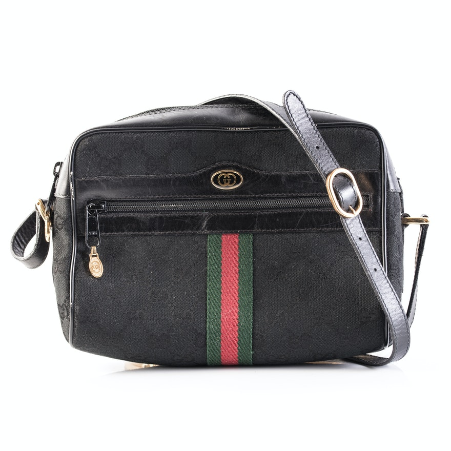 9959358df6c Vintage Gucci Accessory Collection Black Canvas and Leather Crossbody Bag    EBTH