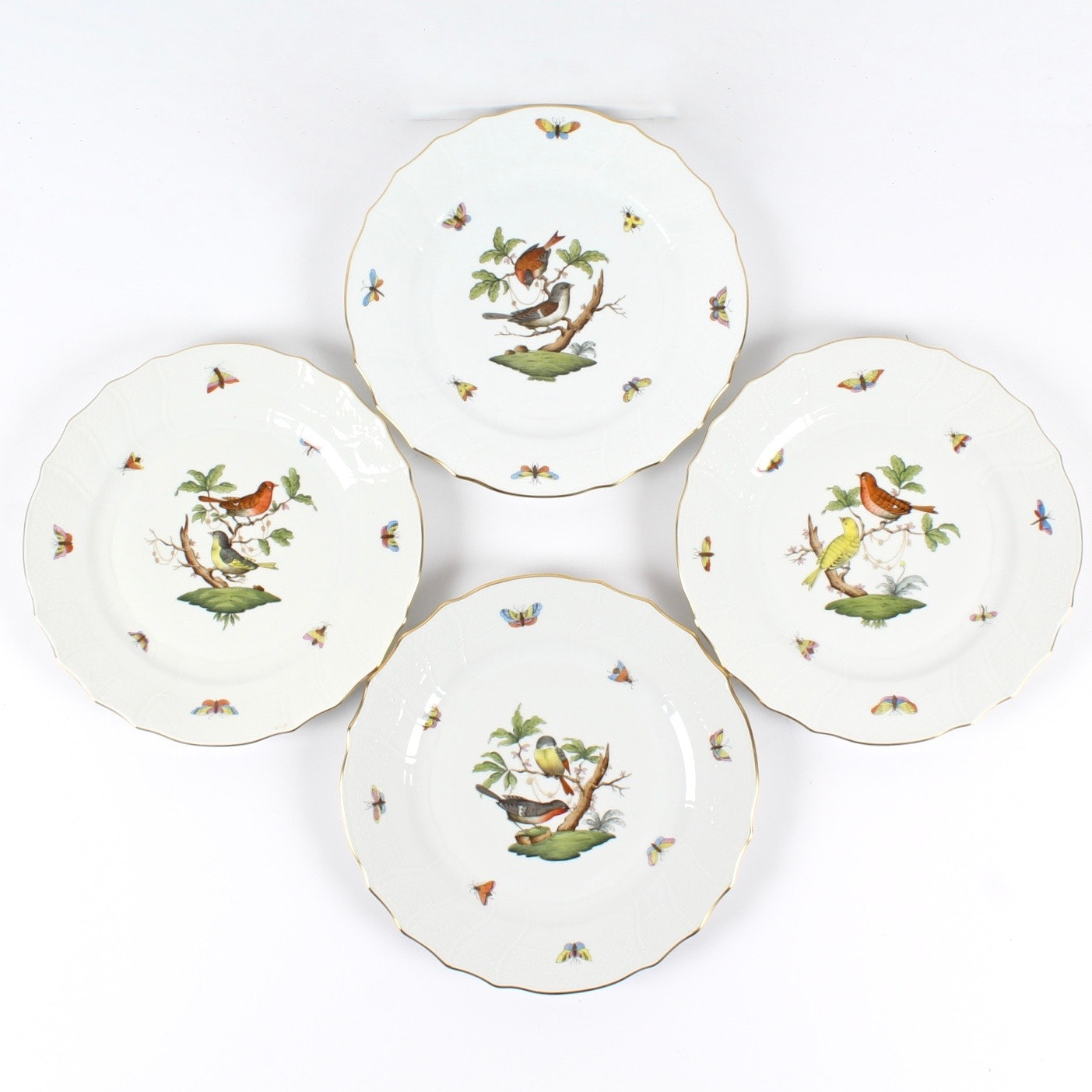 "Herend ""Rothschild Bird"" Dinner Plates"