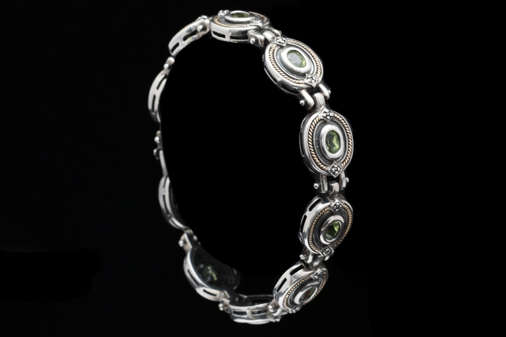 Sterling Silver, 14K Yellow Gold and Peridot Bracelet