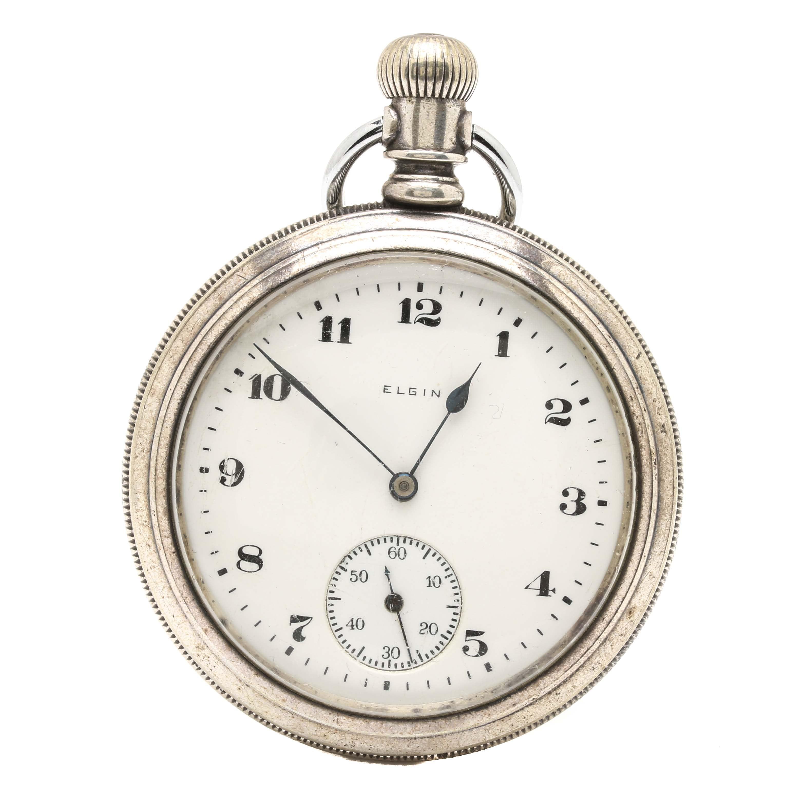 Circa 1905 Sterling Silver Elgin Open-Face Pocket Watch