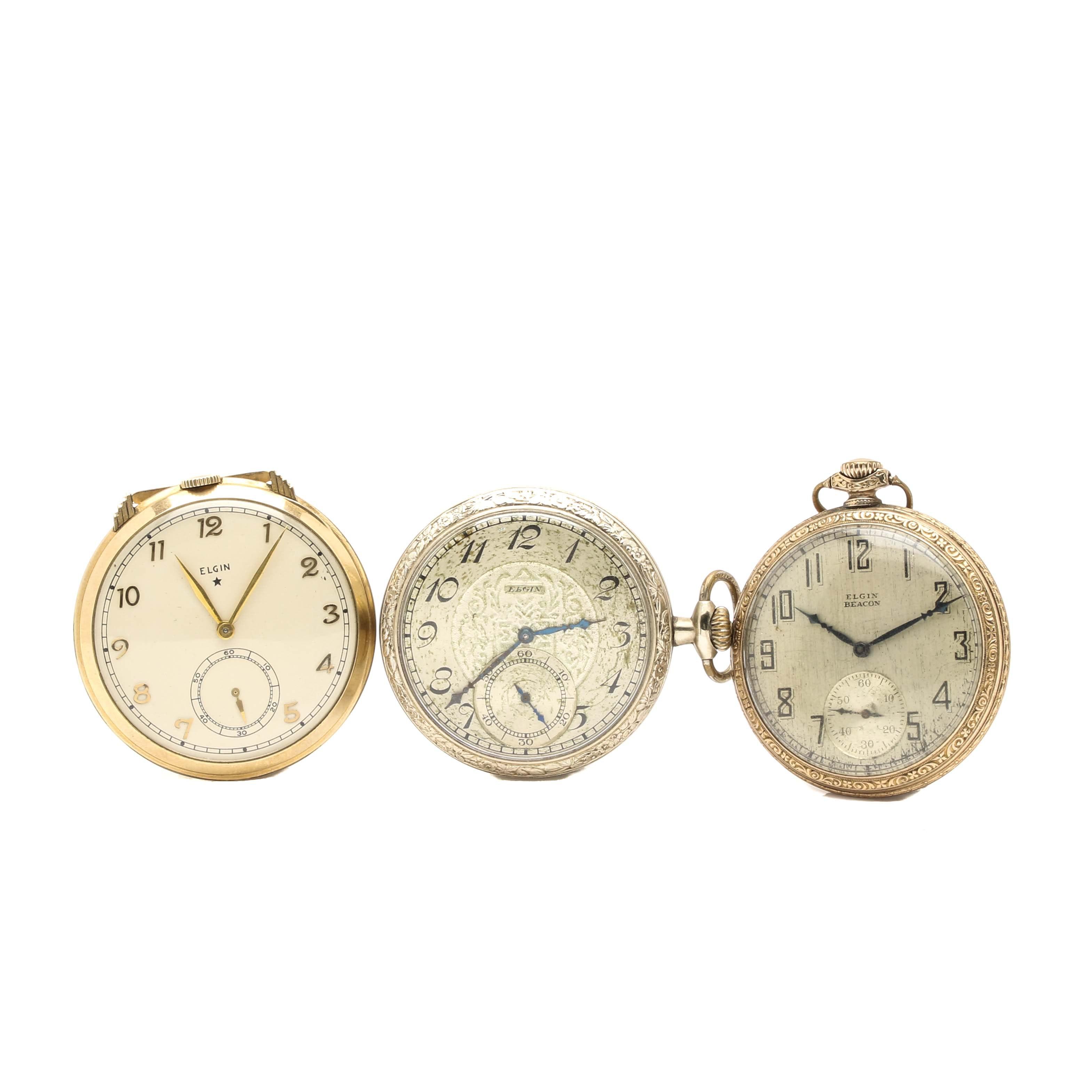 Art Deco Elgin Open Face Pocket Watches
