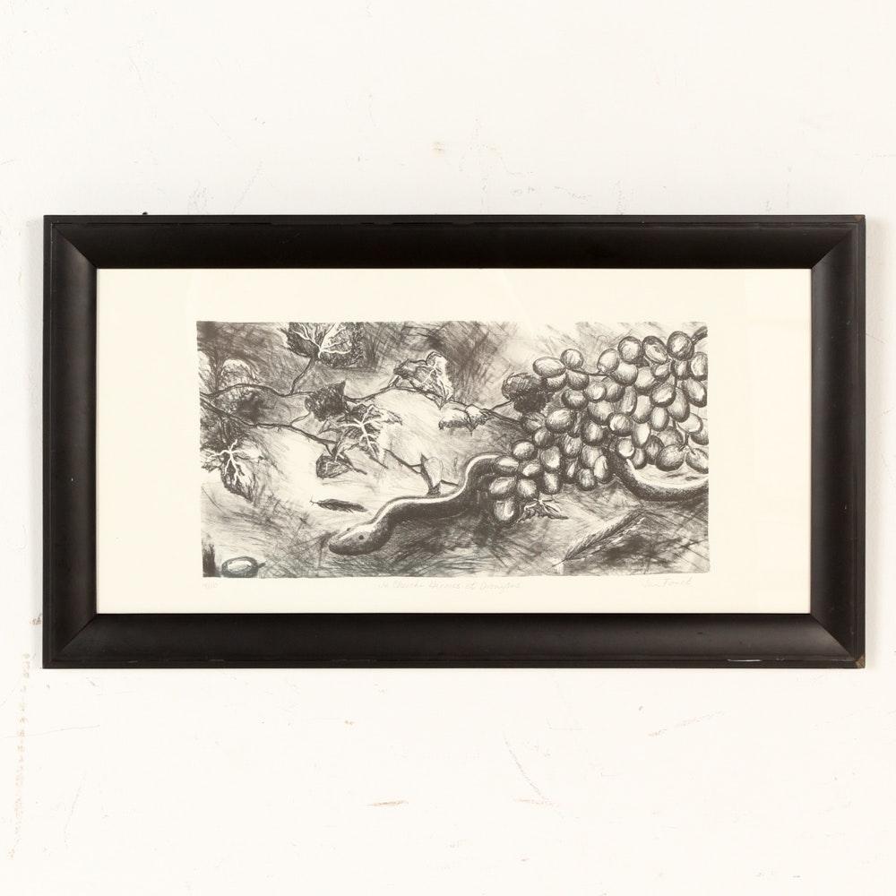 """Jan Foust Lithograph """"Je Cherche Hermes et Dionysus"""""""
