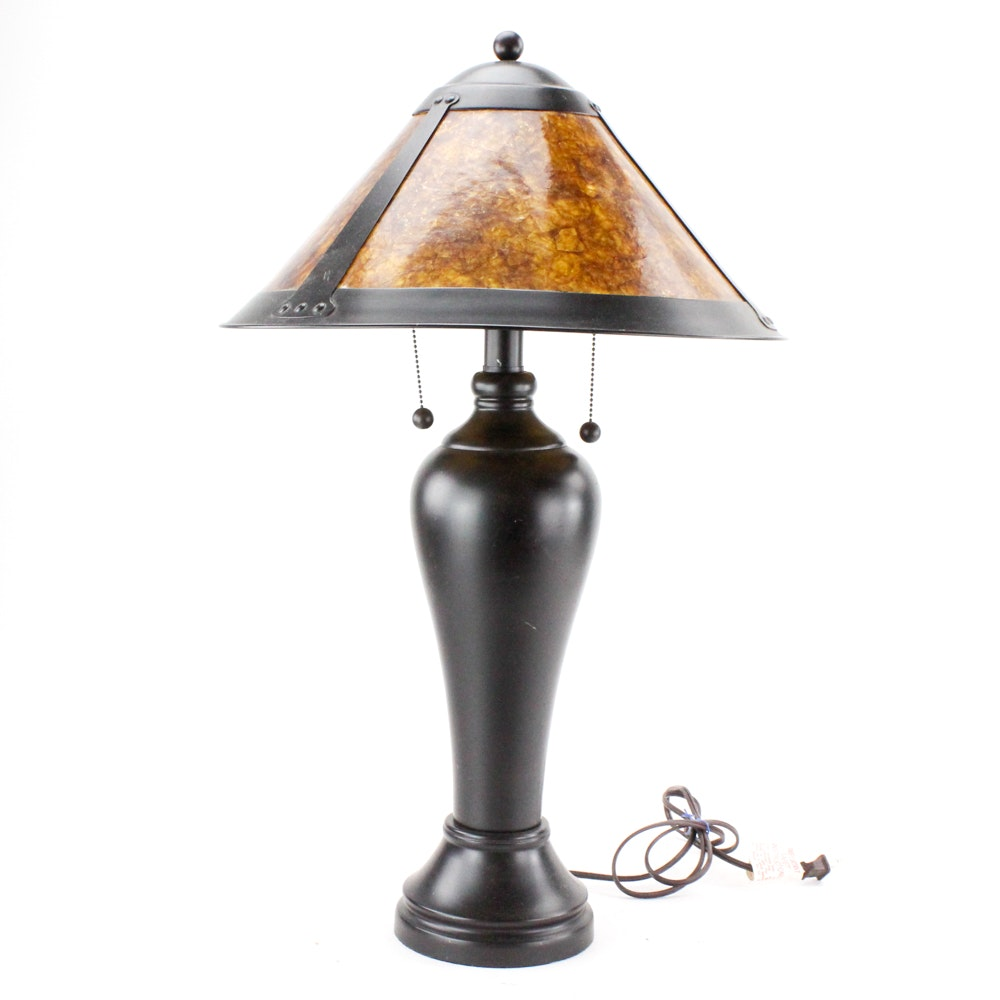Arts and Crafts Style Table Lamp with Mica Shade