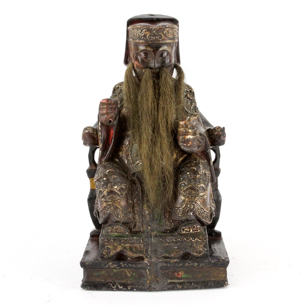 Chinese Republic Period Carved Wooden Sculpture
