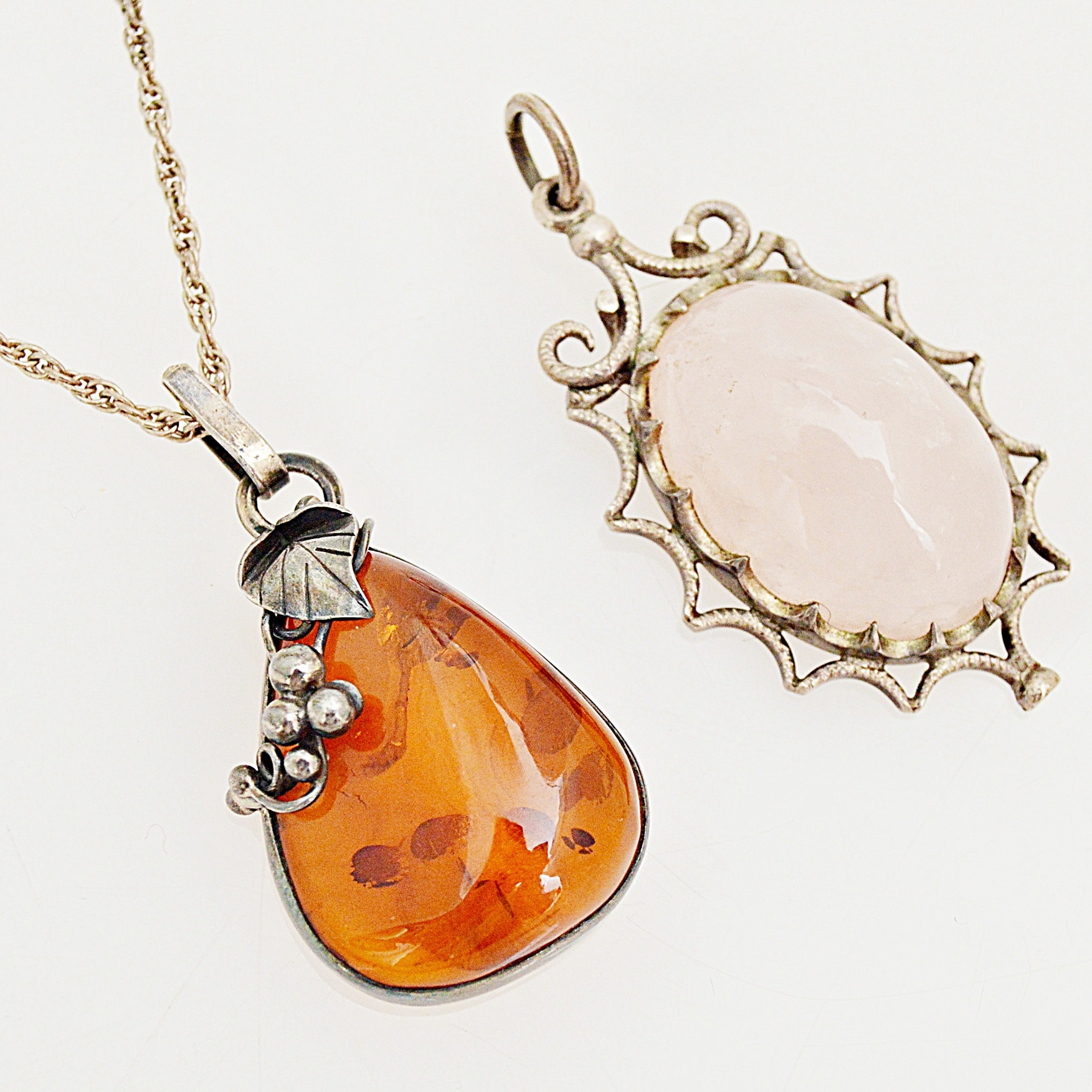 Sterling Silver Pendants with Amber and Rose Quartz