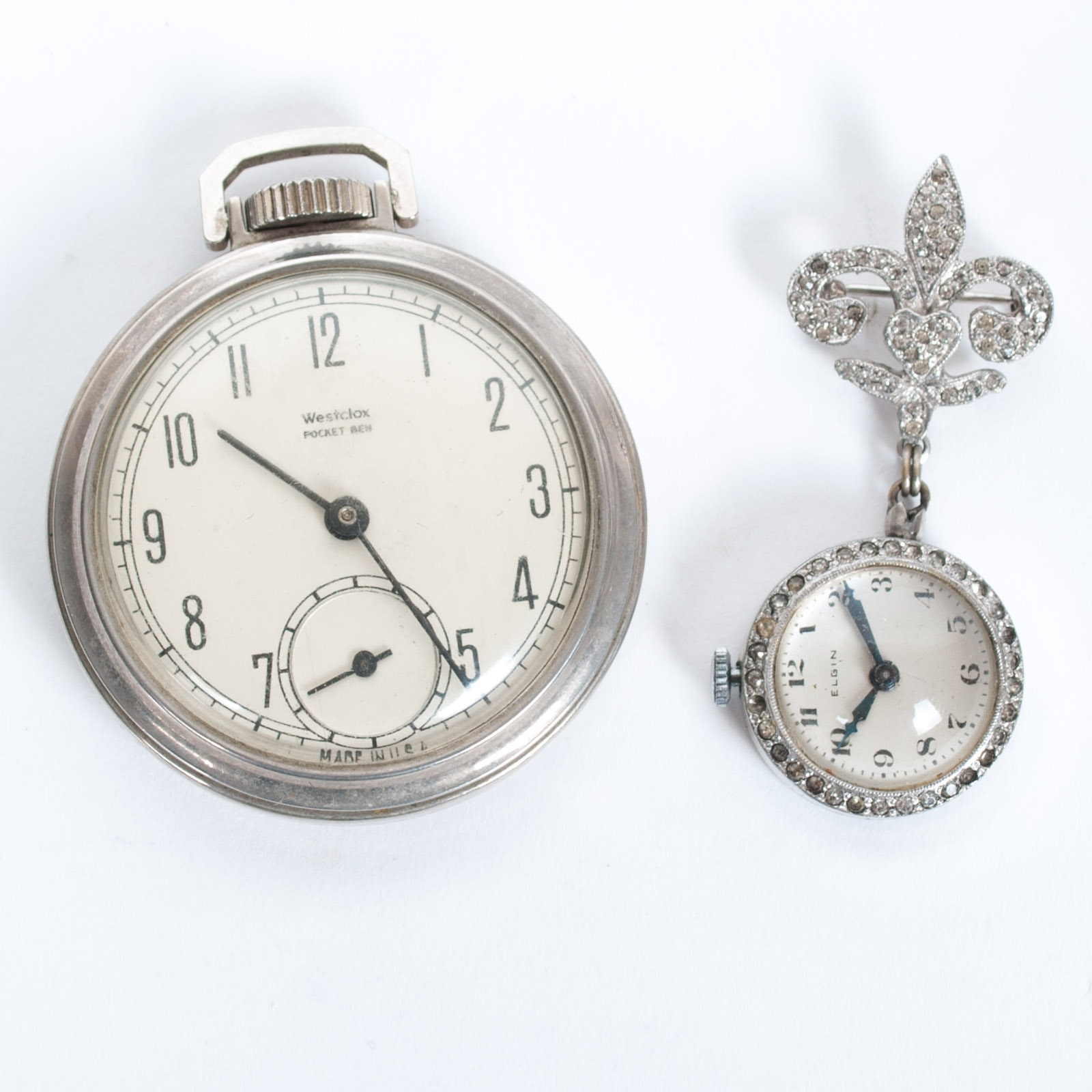 Vintage Elgin Pin Watch with Glass Crystals and Westclox Open Face Pocket Watch