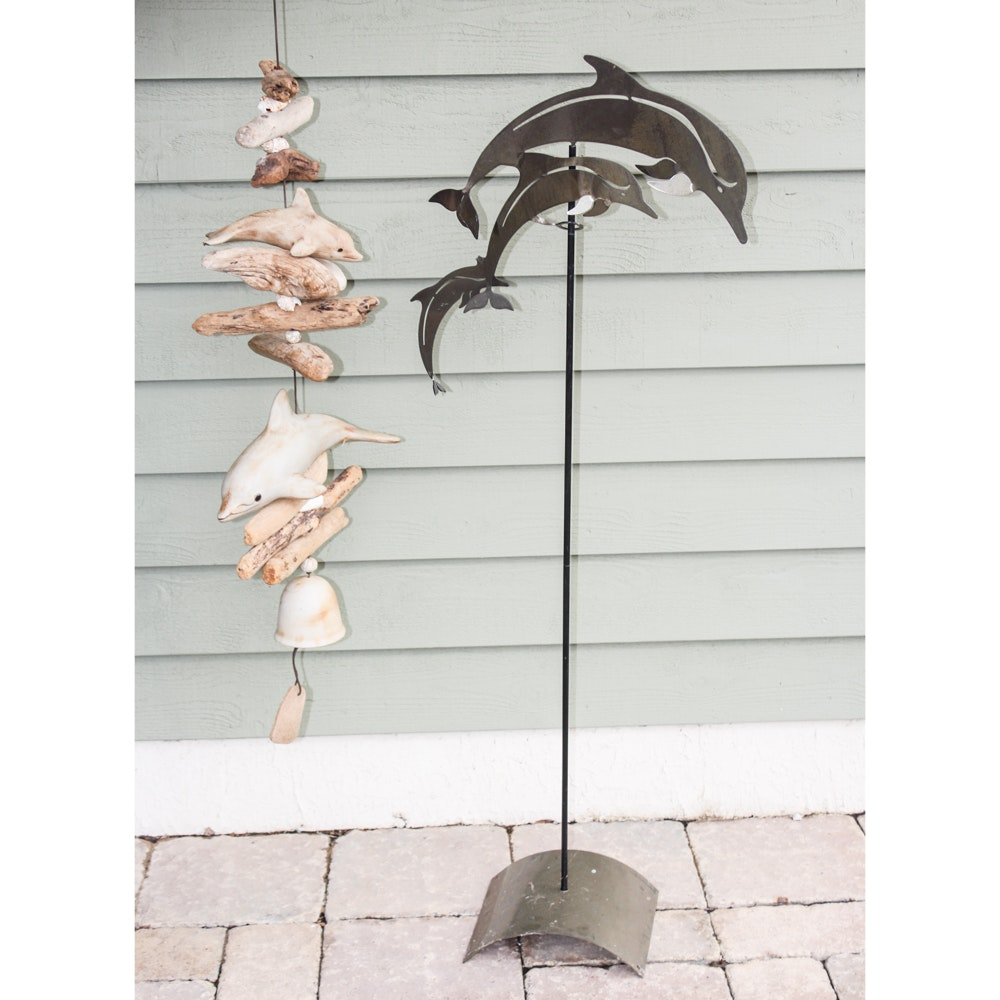 Wooden Wind Chimes and Metal Sculpture