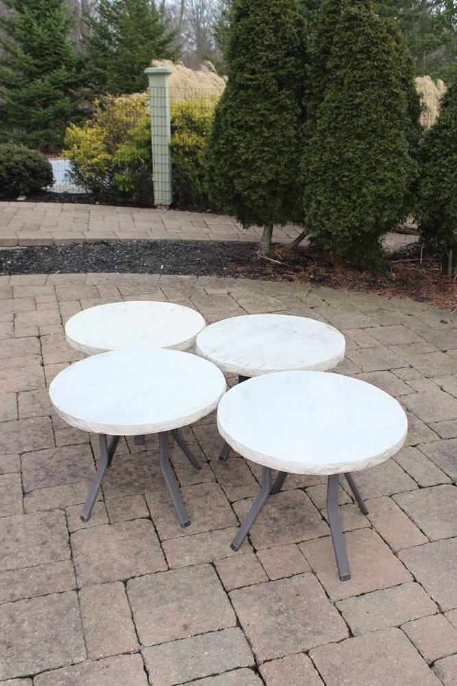Four Faux Stone Top Patio Tables