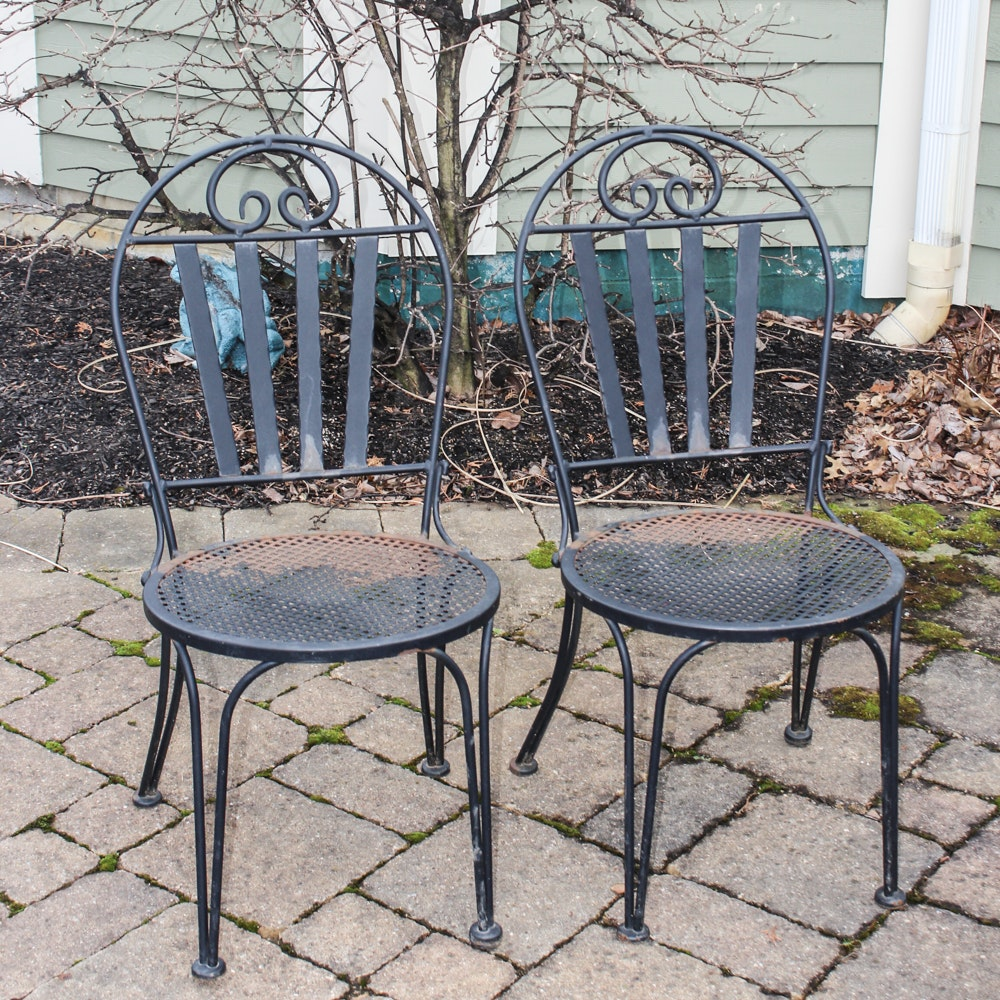 Two Wrought Iron Patio Chairs