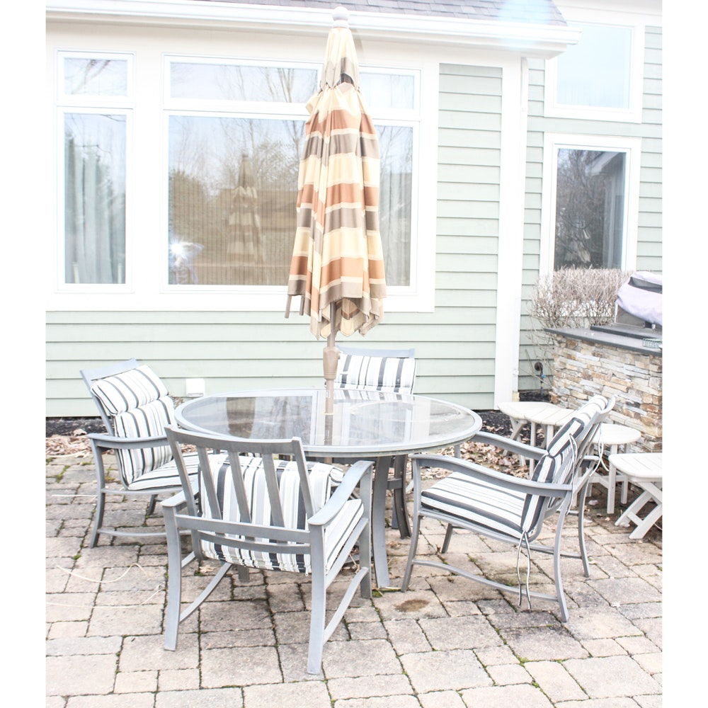 Patio Set with Glass Top Table and Four Chairs