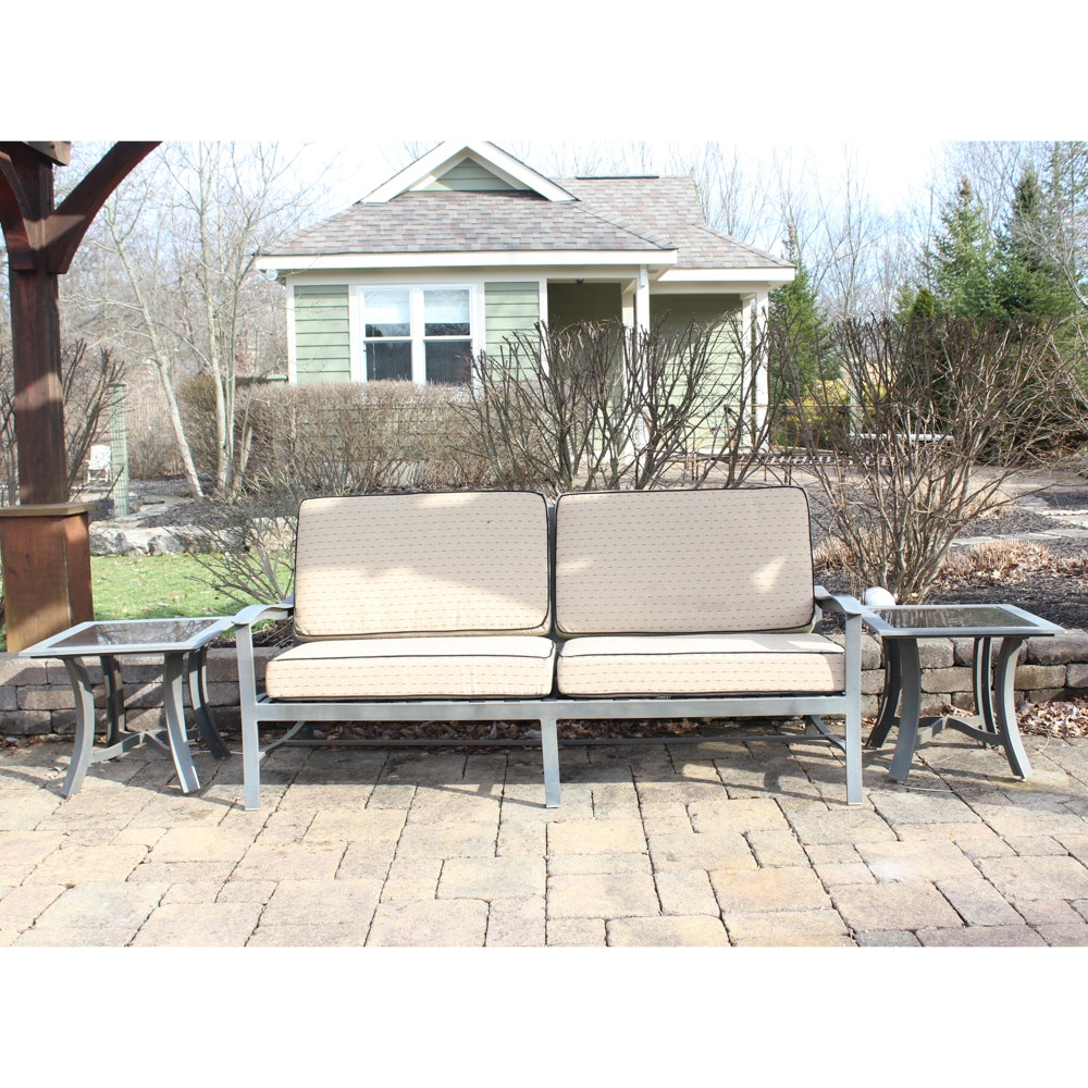 Patio Sofa and Two Glass Top Side Tables
