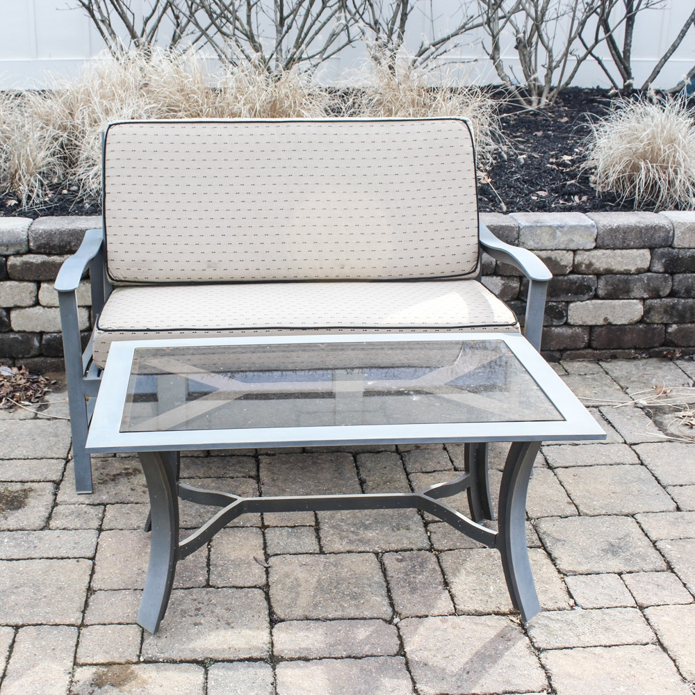 Patio Loveseat with Glass Top Coffee Table