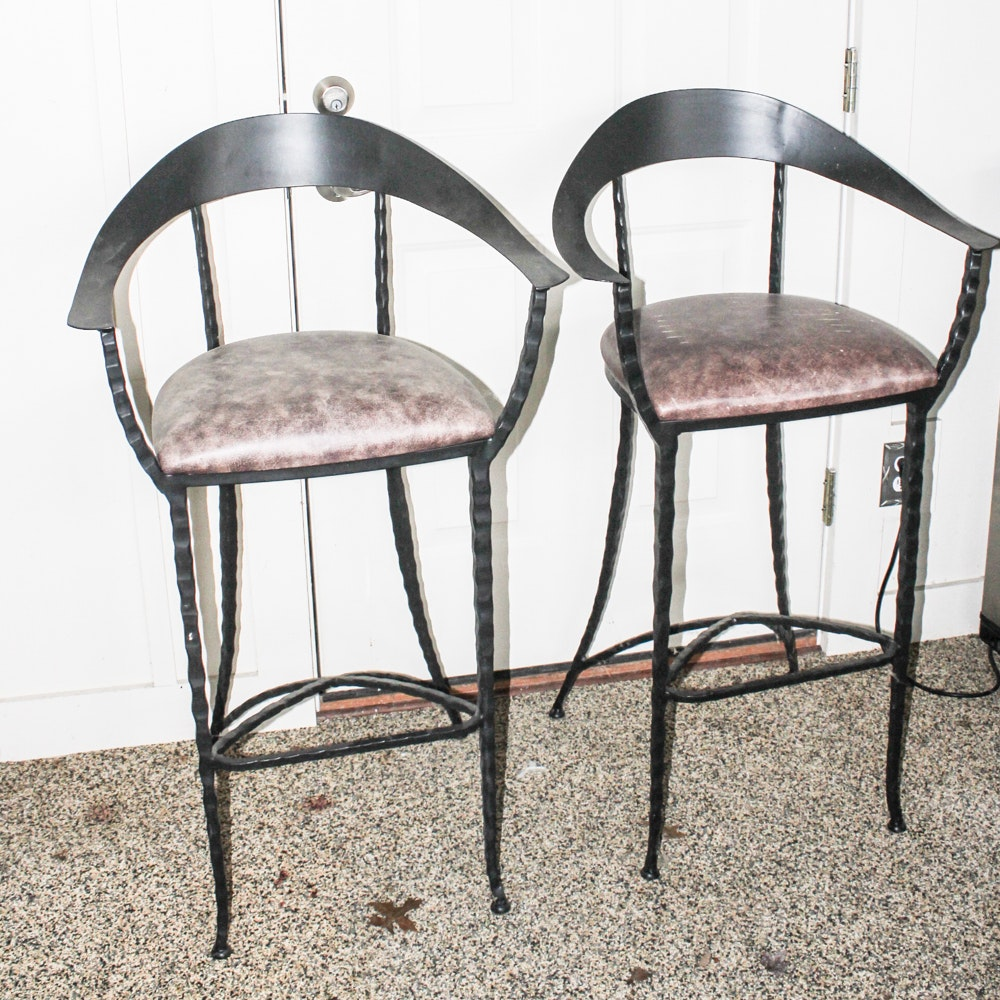 Charleston Forge Iron and Leather Bar Chairs