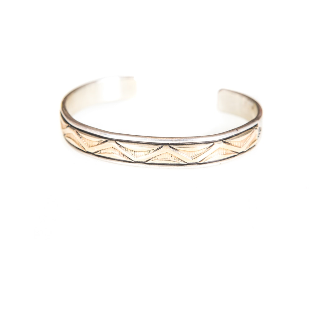 B. Morgan Sterling SIlver and 14K Yellow Gold Cuff Bracelet