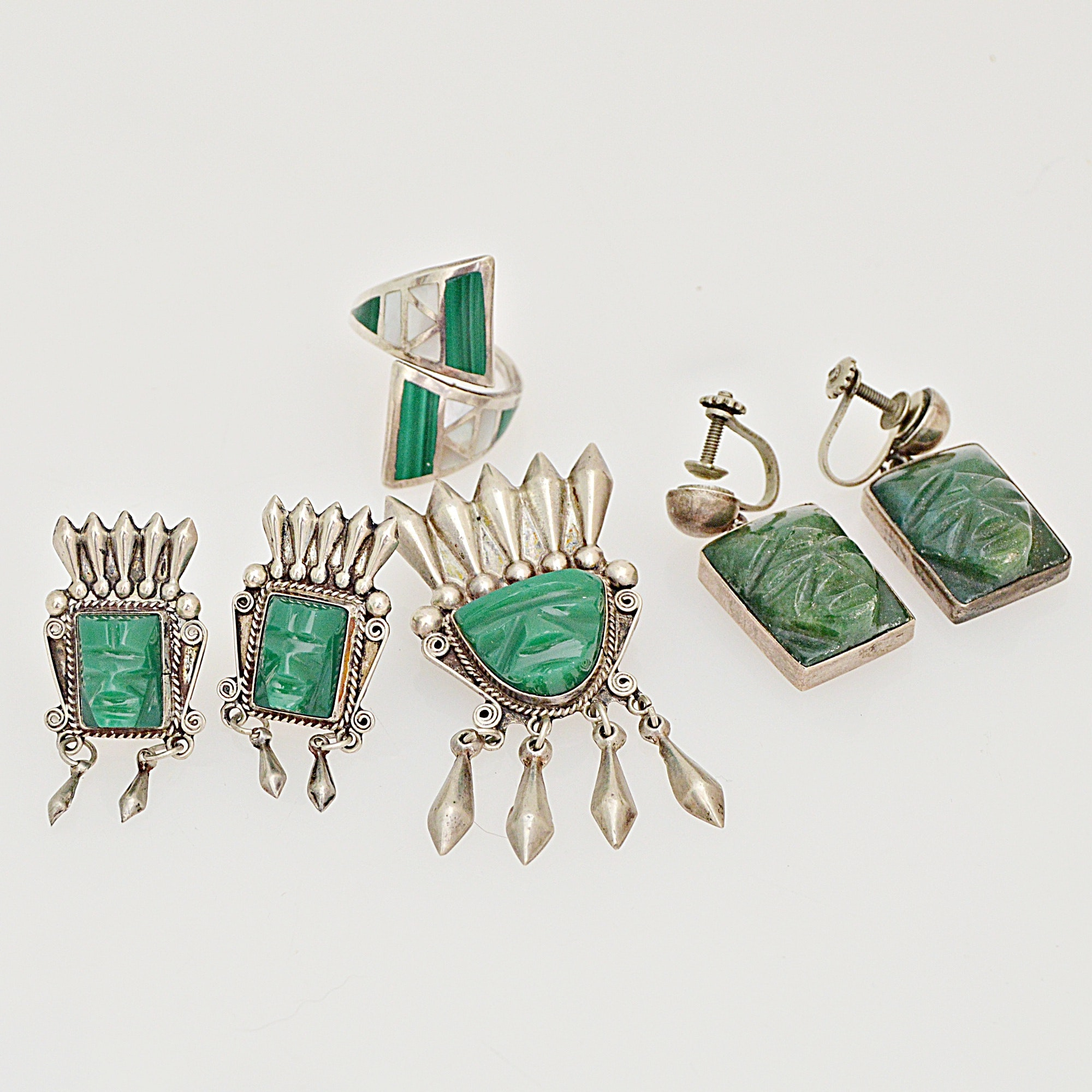 Vintage Mexican Sterling Silver, Calcite, Malachite and Mother-of-Pearl Jewelry