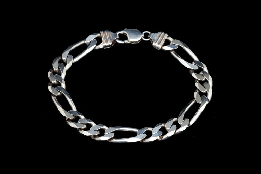 Sterling Silver Figaro Chain Bracelet