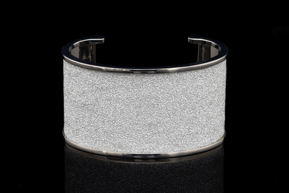 Rebecca Silver Wash on Bronze and White Crystal Cuff Bracelet