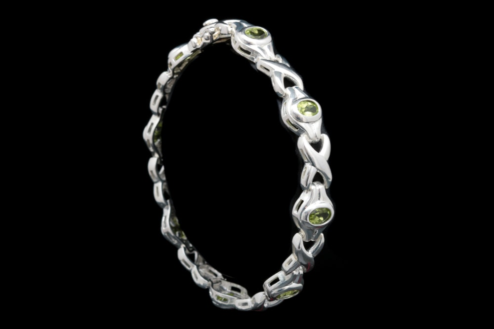 Sterling Silver and Peridot Bracelet