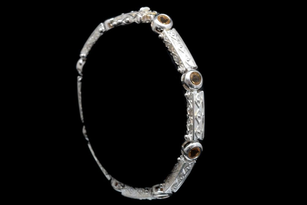 Sterling Silver and Citrine Bracelet