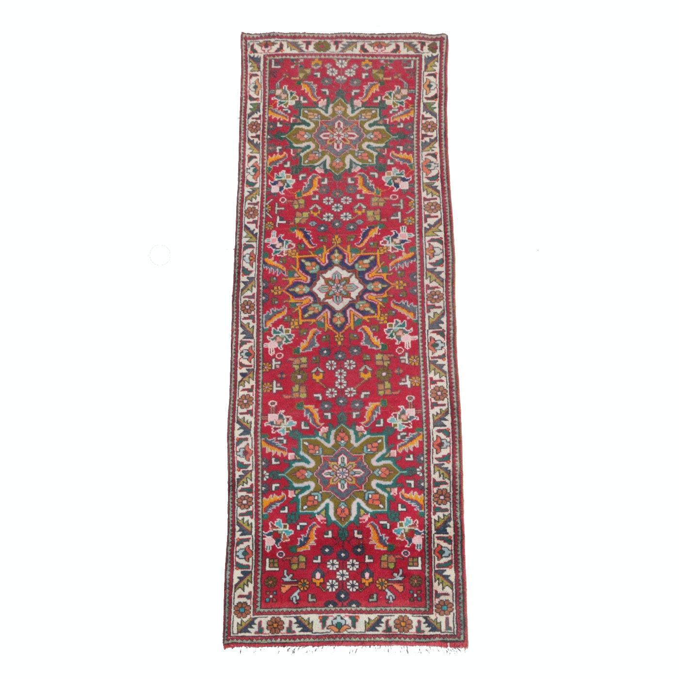 Hand-Knotted Wool Persian Village Carpet Runner