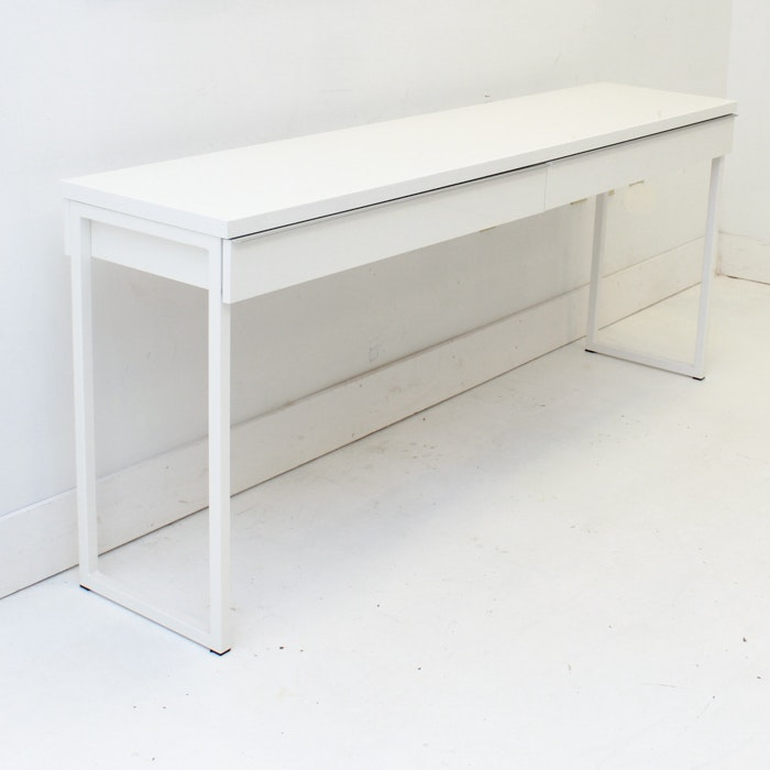 White Metal Console Table with Drawers
