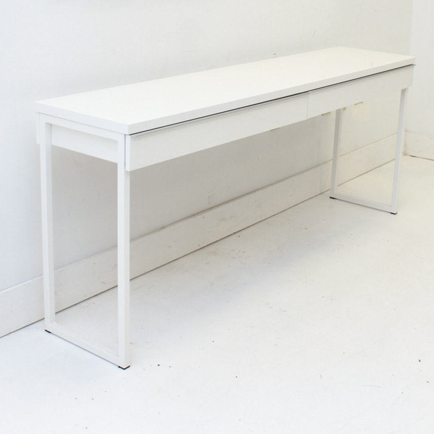 White Metal Console Table With Drawers Ebth