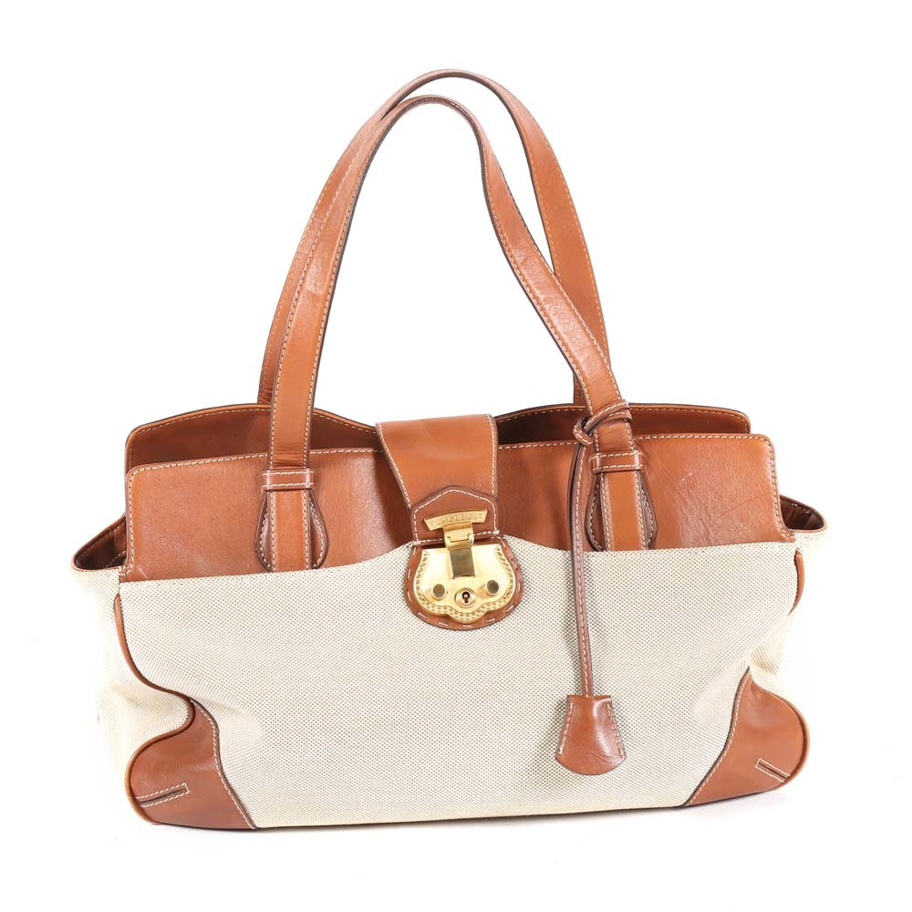 Talbots Leather and Canvas Satchel