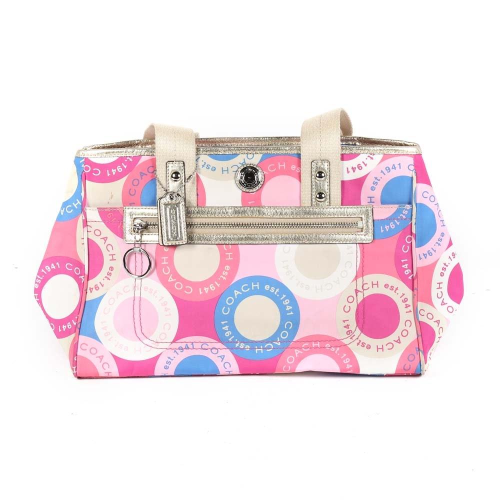 Coach Daisy Scarf Print Satchel Handbag